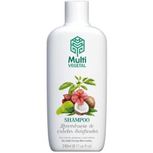 Shampoo Natural e Vegano Multi Vegetal de Coco para Cabelos Danificados