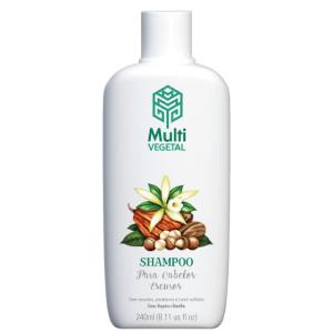 Shampoo Natural e Vegano Multi Vegetal para Cabelos Escuros de Cacau, Nogueira e Baunilha