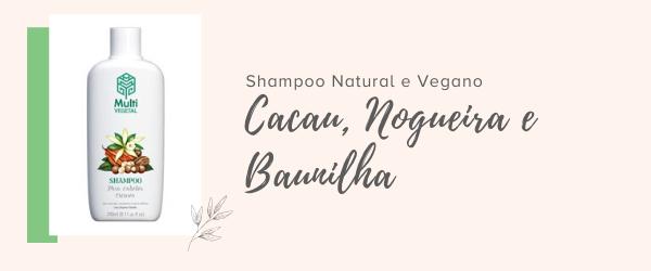 Shampoo natural e vegano cacau nogueira e baunilha herbia